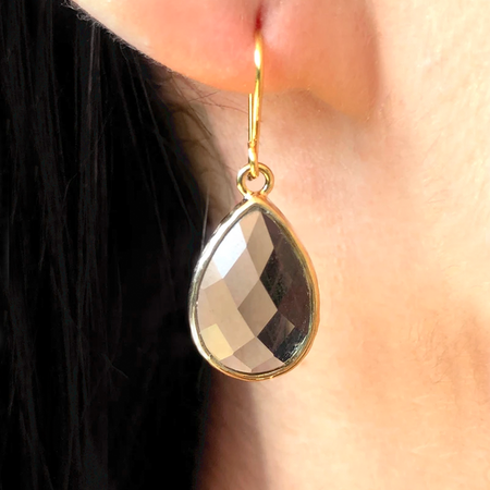 Pear Drop Crystal Earring-Black Diamond /Gold
