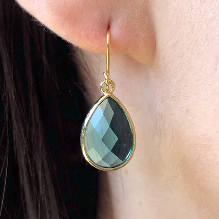 Pear Drop Crystal Earring-Blue Zircon/Gold