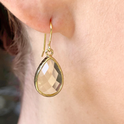 Pear Drop Crystal Earring-Gold/Lemon