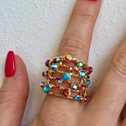 Red Carpet Hammered Line Stretch Ring