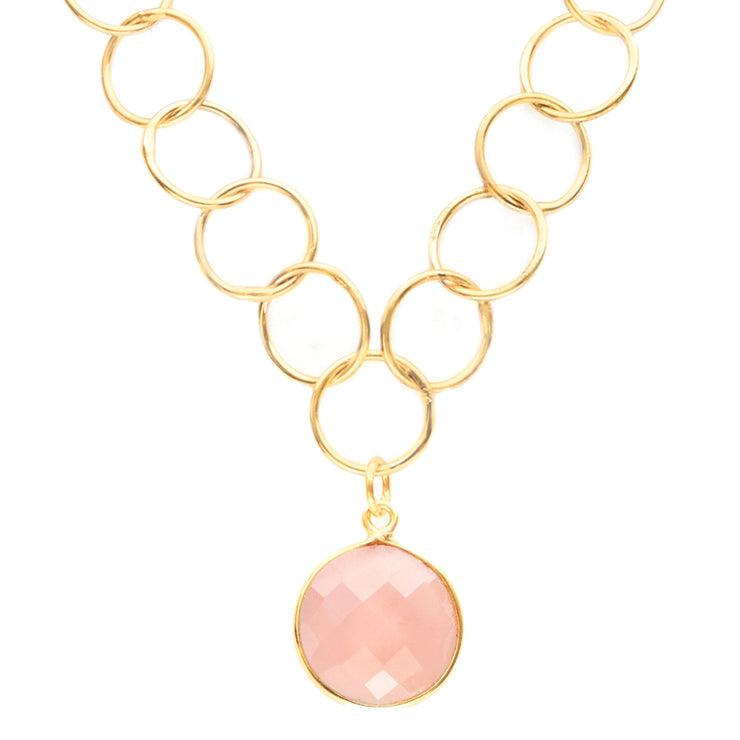 Pink Chalcedony Unity Necklace