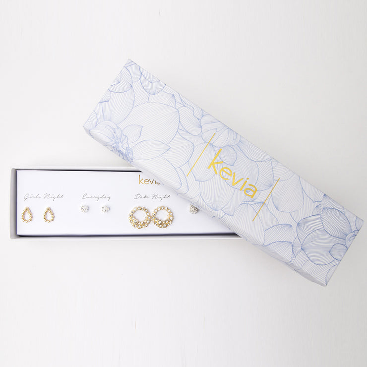 Set of 5 Boxed Post Earrings with Celestial Hoops