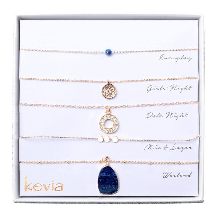 Set of 5 Necklaces with Lapis Pendent