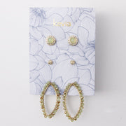 Set of Three Post Earrings on Card with Beaded Hoops