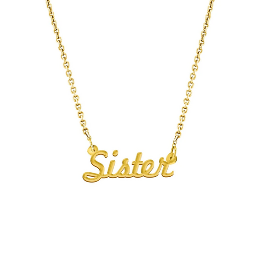 Sister Script Necklace