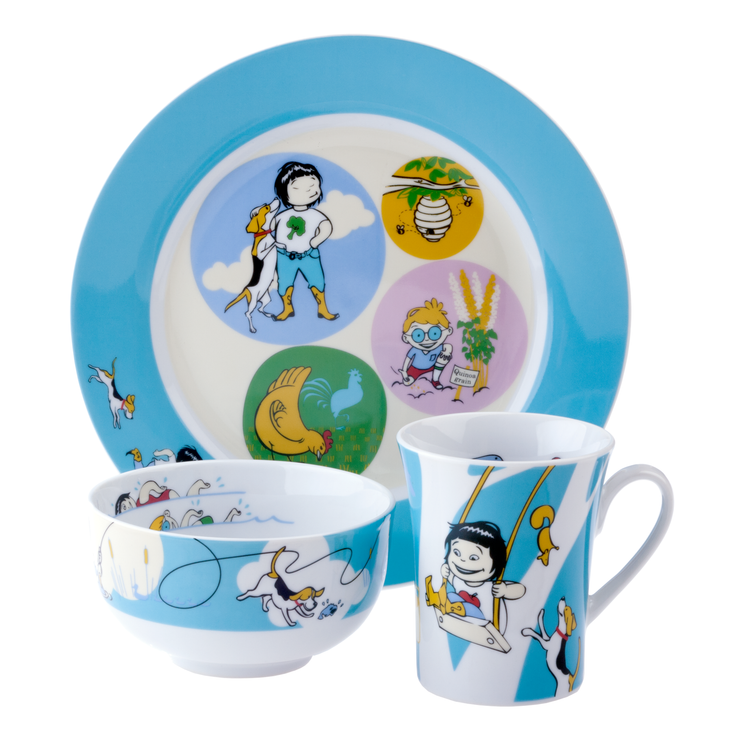 Kidliga Sammie & Sax 3-Piece Portion Control Dinnerware Set for Kids in Blue with Award-winning Children's Book