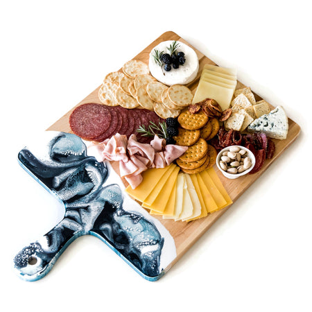 "Resin Accented Cheese Board (15""x24"") Navy, White, and Metallic Blue"