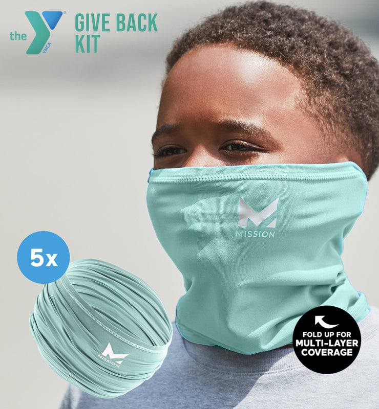 YMCA GIVE BACK KIT | 5-PACK YOUTH CLASSIC 6-IN-1 GAITER | AQUA SKY