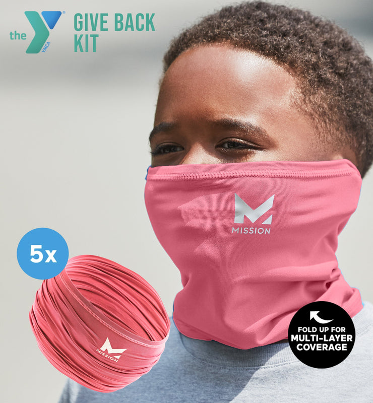 YMCA GIVE BACK KIT | 5-PACK YOUTH CLASSIC 6-IN-1 GAITER | PINK