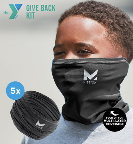 YMCA GIVE BACK KIT | 5-PACK YOUTH CLASSIC 6-IN-1 GAITER | BLACK