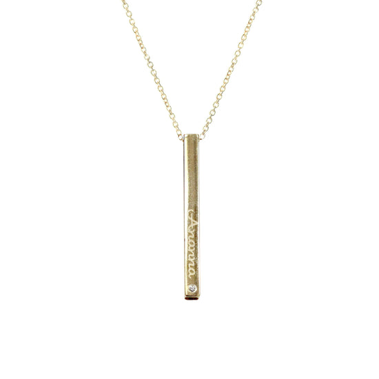La Soula Personalized Diamond Bar Necklace