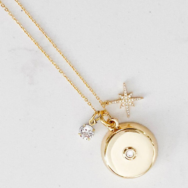 Personal Safety Device - Gold Star Burst Charm Necklace