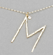 Hammered Long Initial Necklace