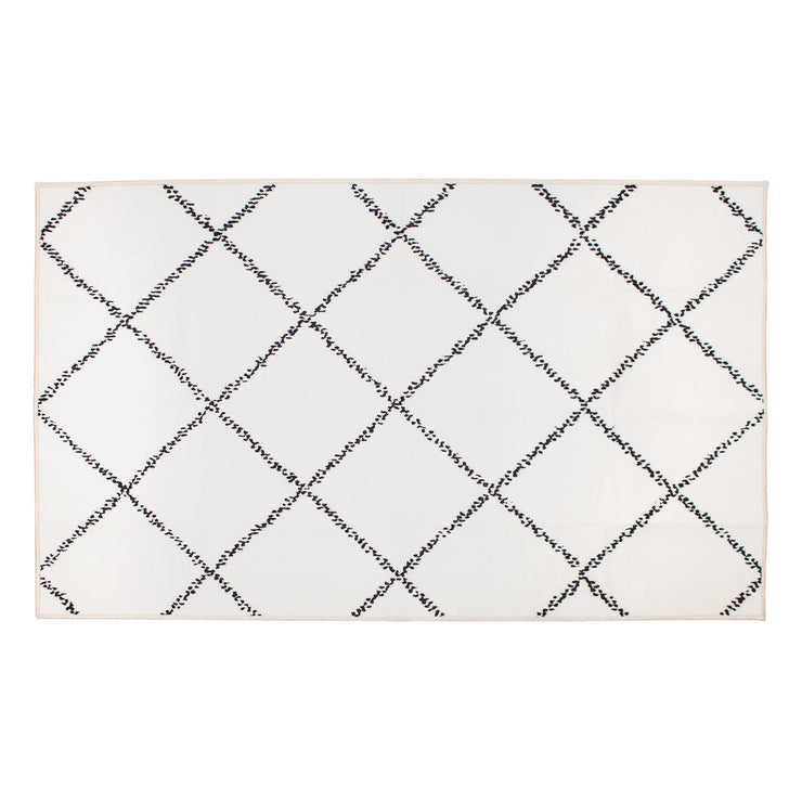Medina Moroccan Diamond Ivory Washable Rug