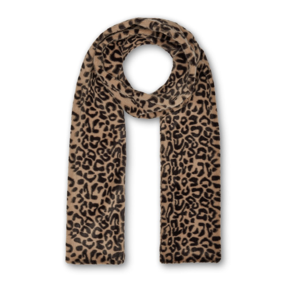 Ari Double Layer Scarf - Beige Leopard