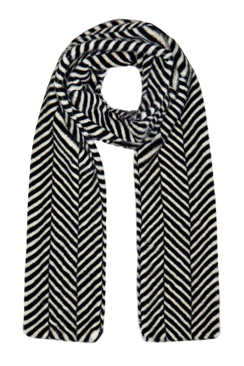 Ari Double Layer Faux Fur Scarf - Black