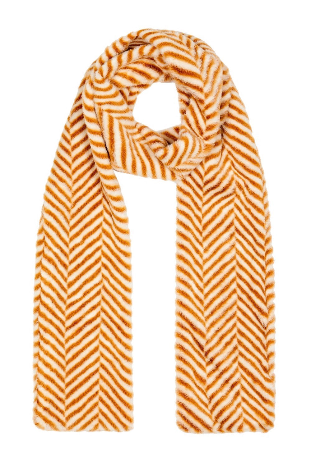 Ari Double Layer Faux Fur Scarf - Ochre