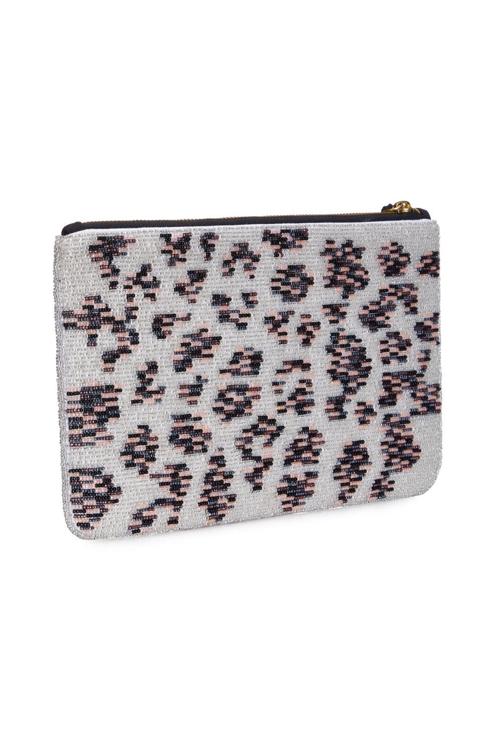 Pastel-Leopard Beaded Clutch
