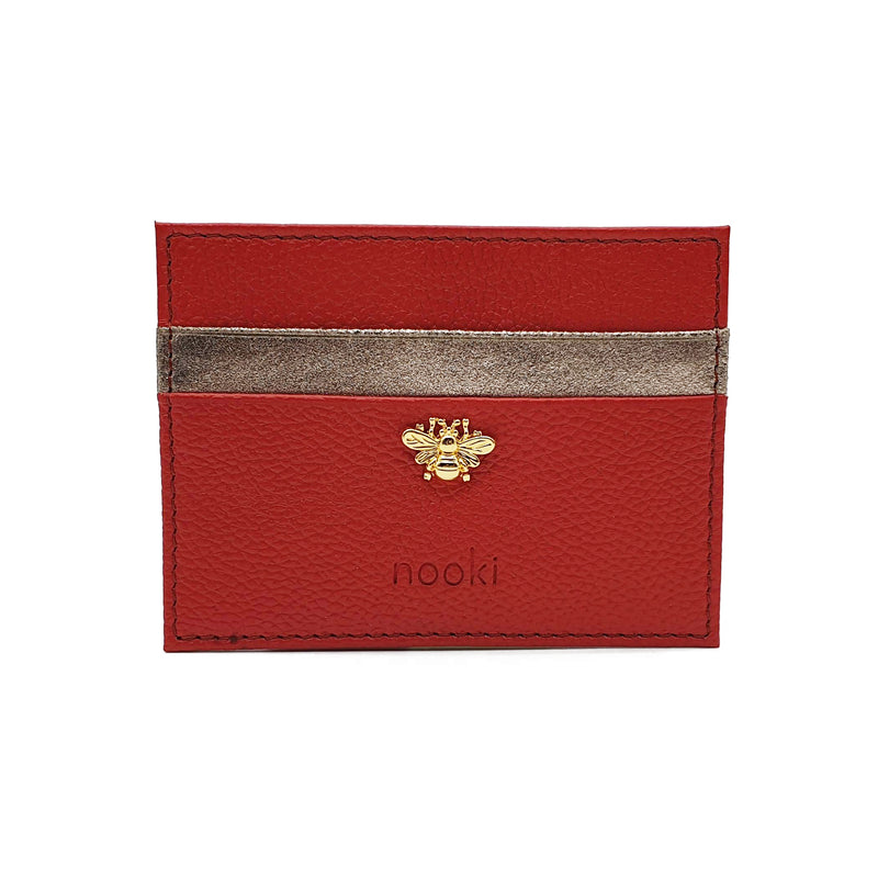 Bee Stud Cardholder - Red