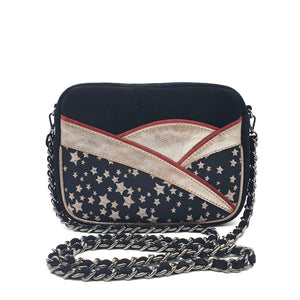 Calli Shoulder Bag - Jacquard Star & Suede - Black
