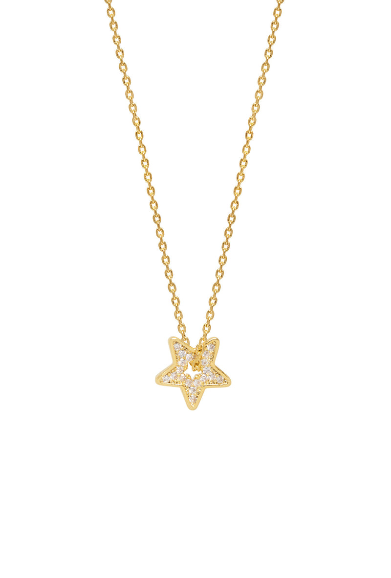Thread Through Star Necklace-Gold Plated