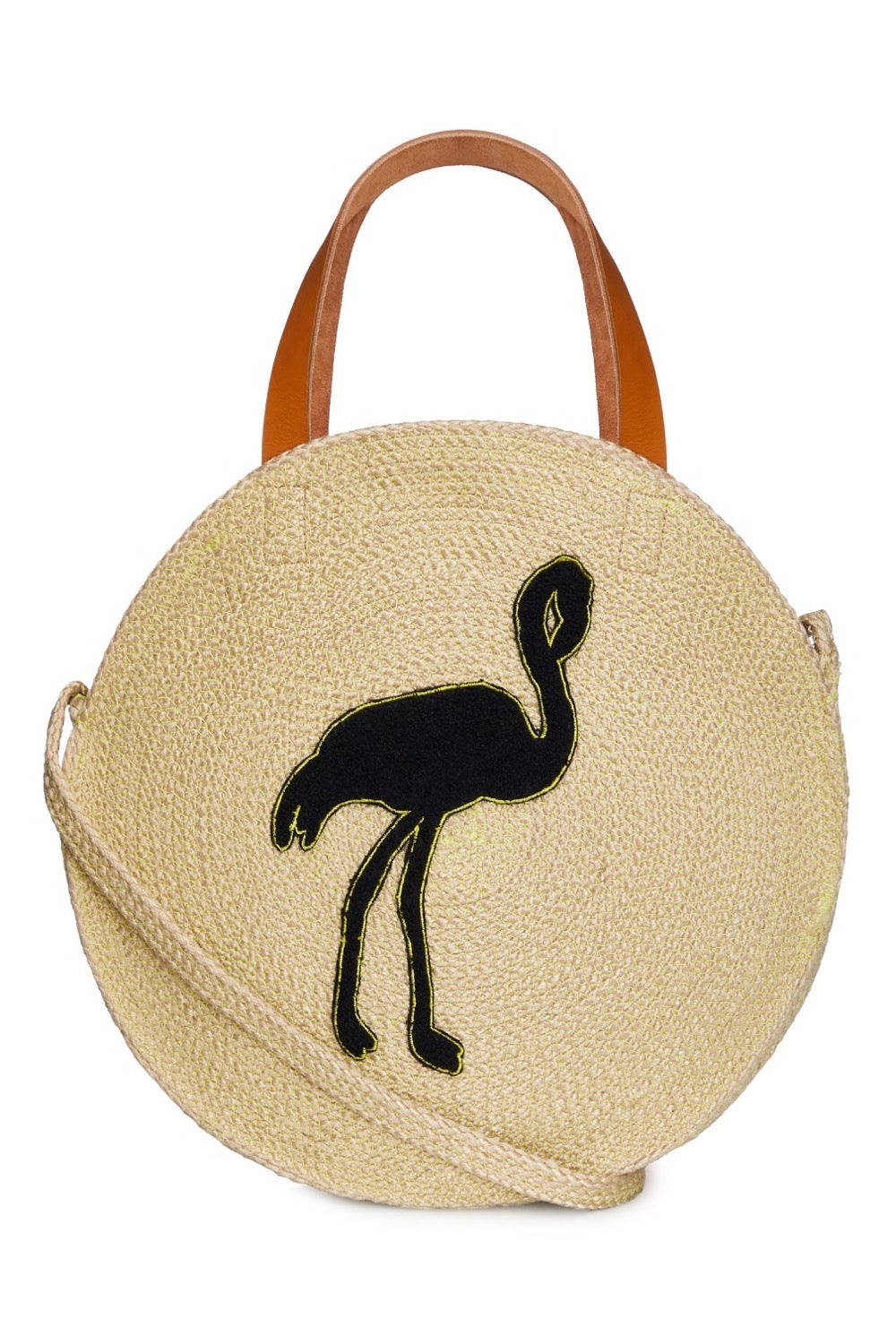 Jute Round Shopper - Flamingo