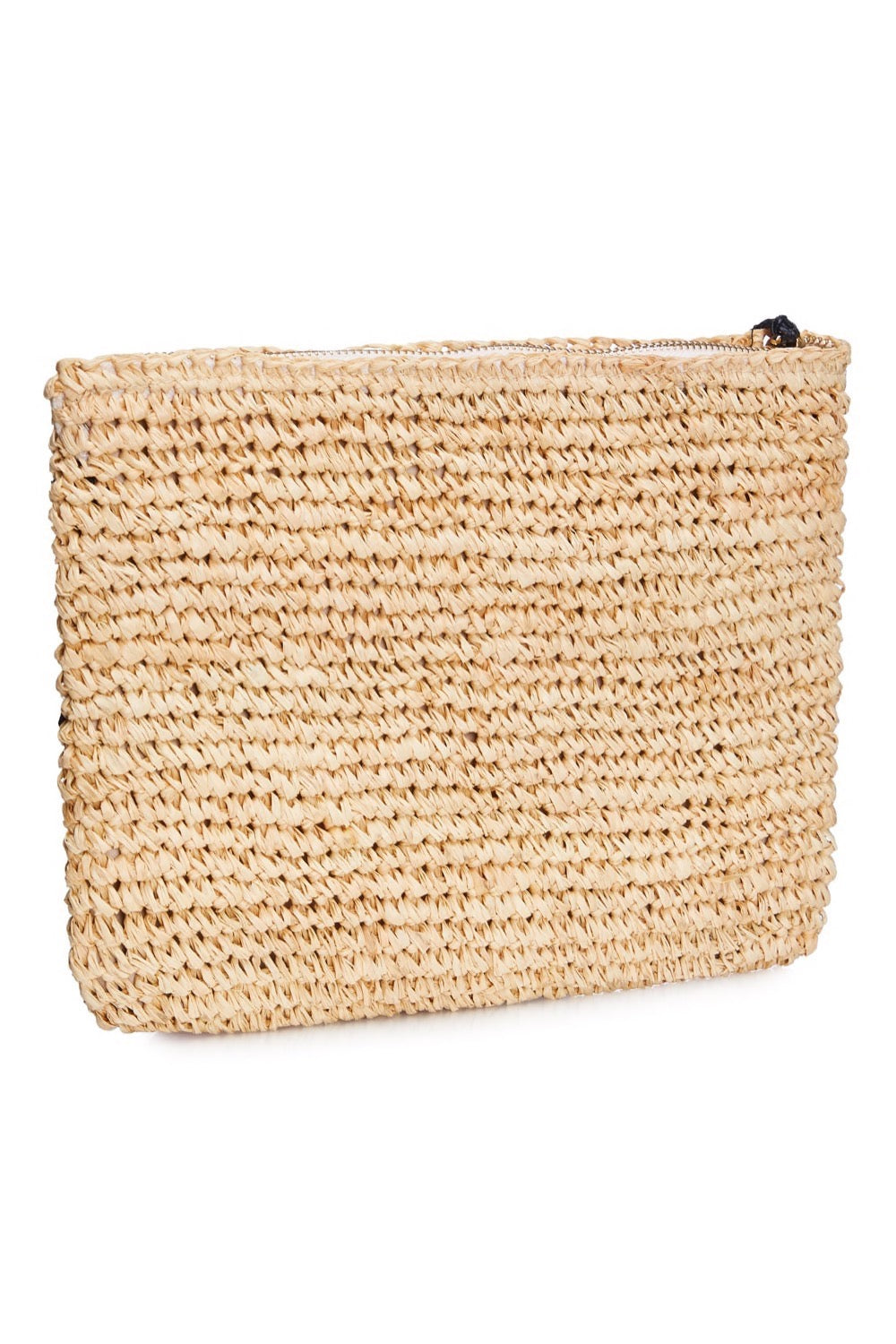 Leopard Embroidered Raffia Clutch - Black