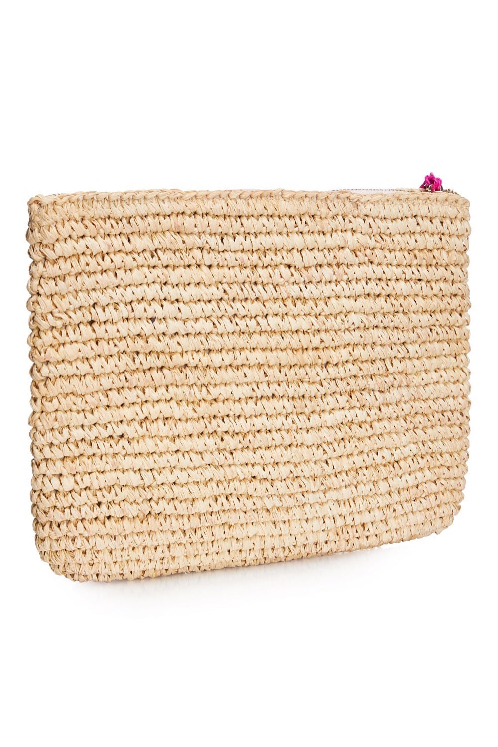 Leopard Embroidered Raffia Clutch - Pink
