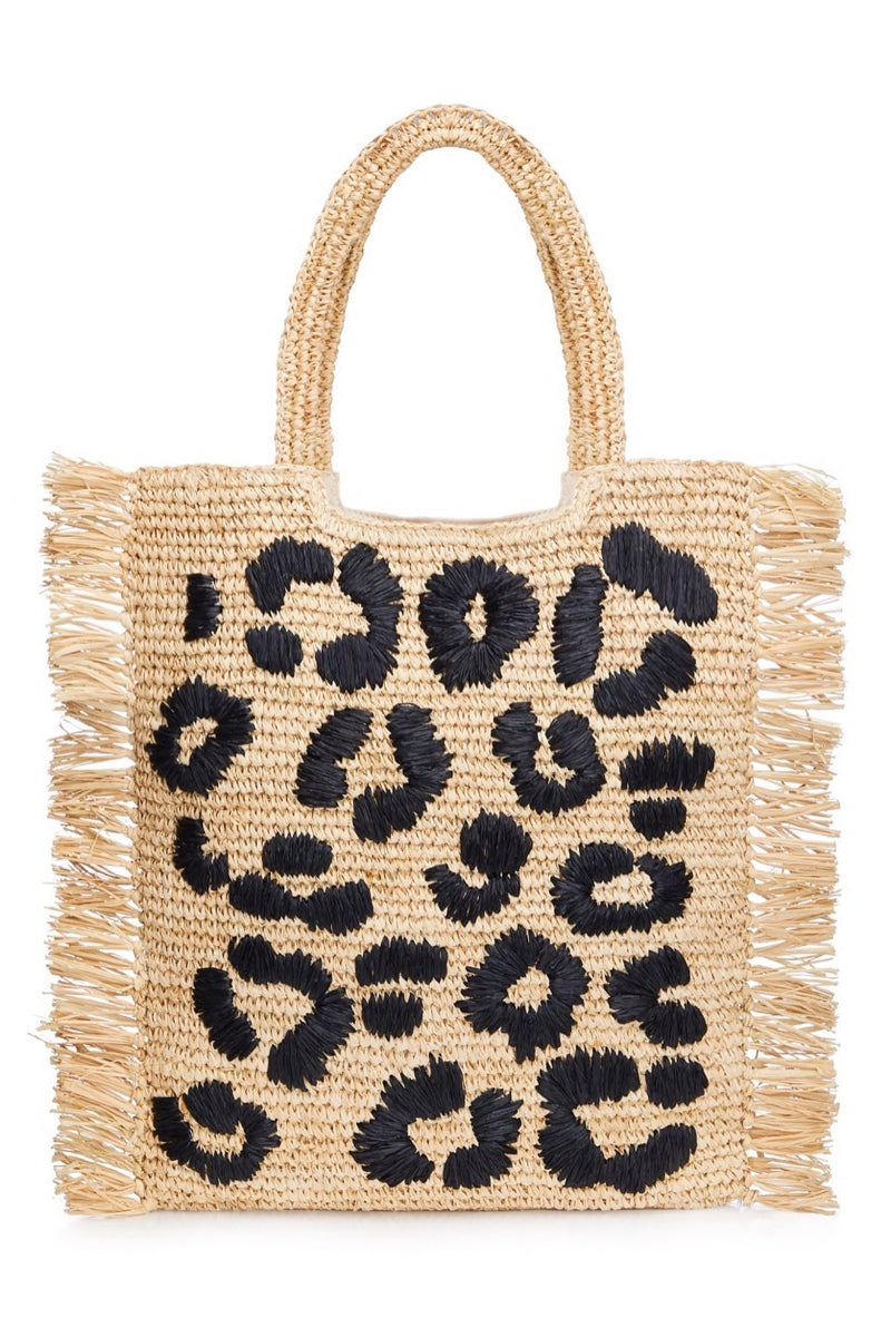 Leopard Embroidered Raffia Shopper - Black