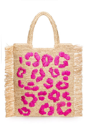 Leopard Embroidered Raffia Shopper - Pink