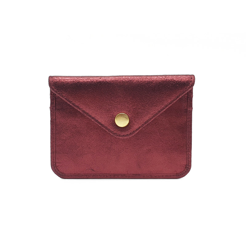 Marlin Metallic Leather Cardholder - Burgundy
