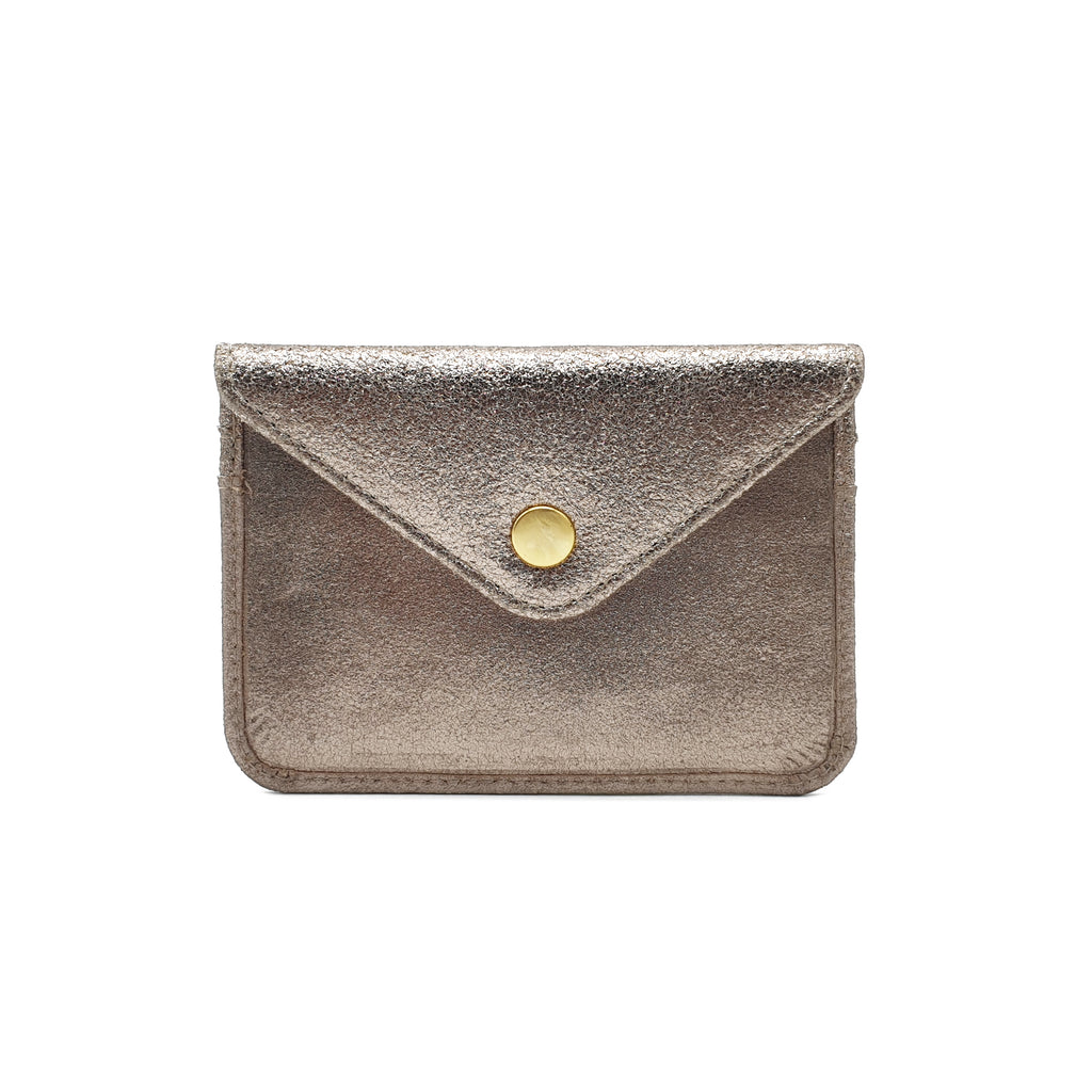 Marlin Metallic Leather Cardholder - Gold