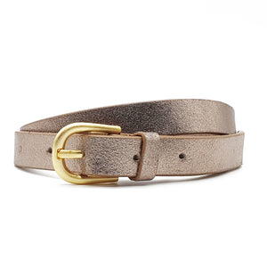 Melena Metallic Leather Belt - Gold
