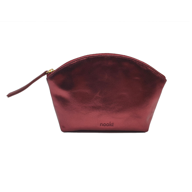 Nessa Leather Metallic Cosmetic Bag - Burgundy