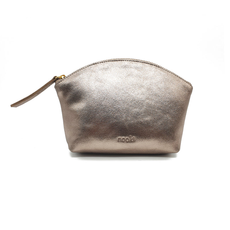 Nessa Leather Metallic Cosmetic Bag - Gold