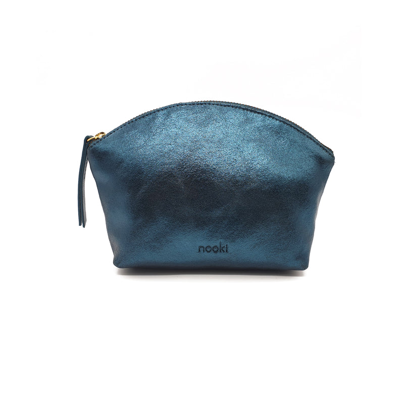 Nessa Metallic Leather Cosmetic Bag - Teal