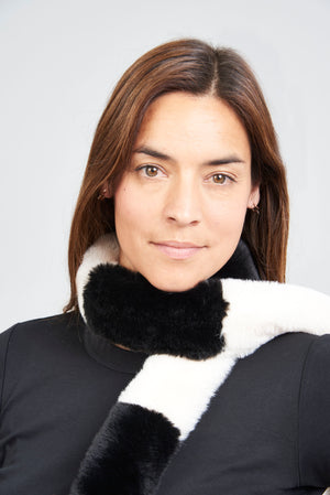 Striped Pasha Faux Fur Scarf - Black/White
