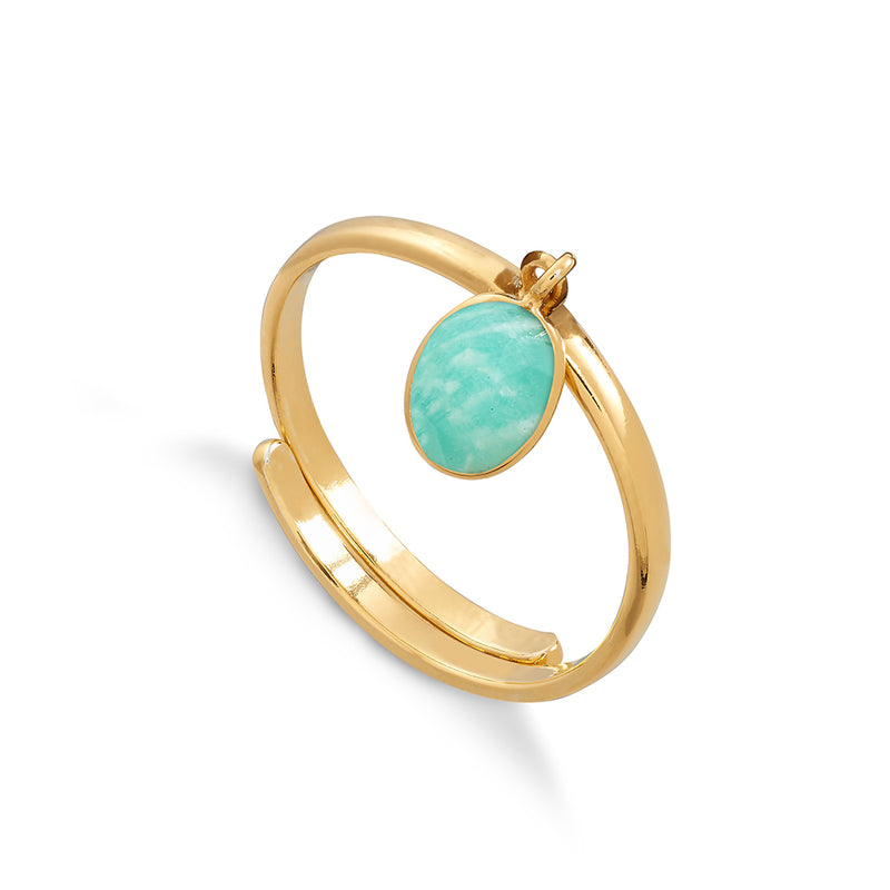 Rio 18 Carat Gold Vermeil Ring - Amazonite