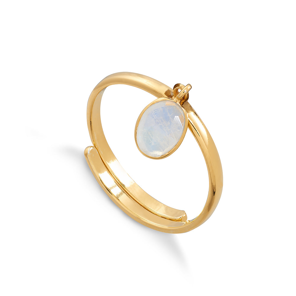 Rio 18 Carat Gold Vermeil Ring - Rainbow Moonstone