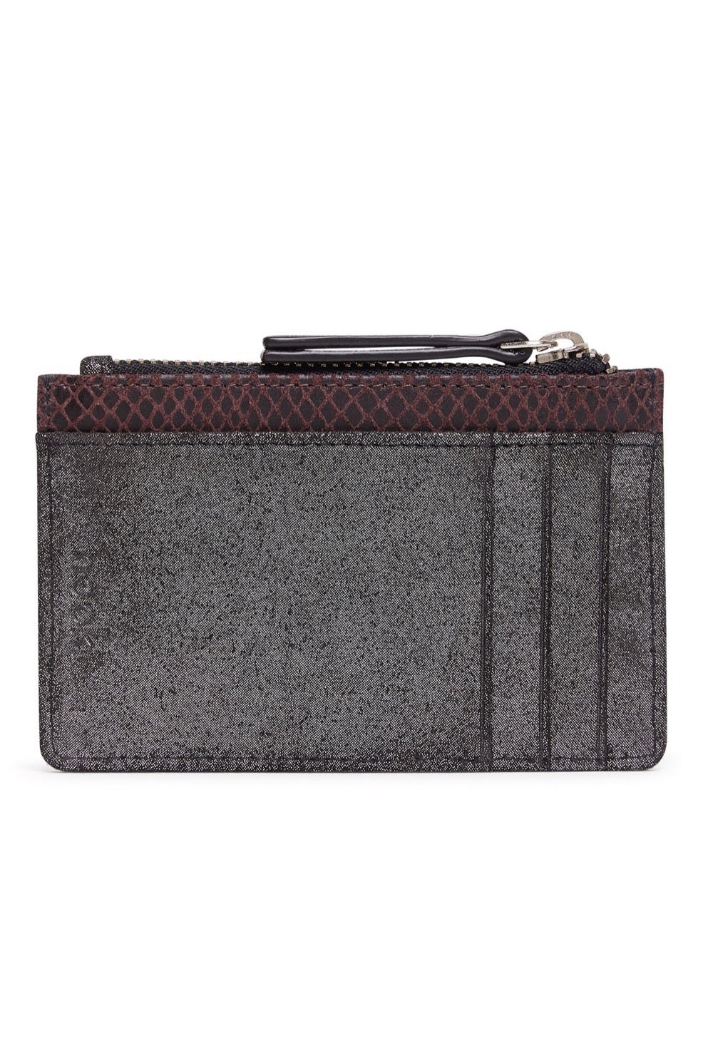 Rubin Card Holder - Gunmetal & Burgandy Snake Print