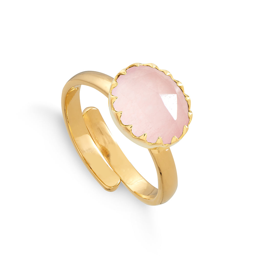 Sunday Girl 18 Carat Gold Vermeil Ring - Rose Quartz