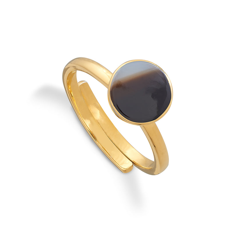 Starman 18 Carat Gold Vermeil Ring - Black Onyx