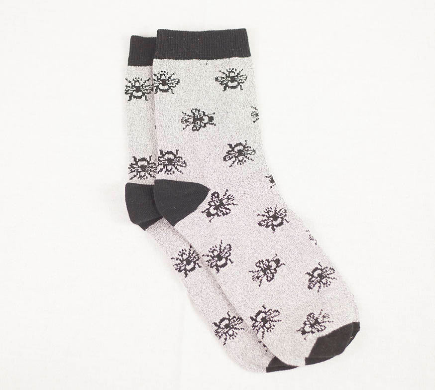 Bee Sock - Silver/Black