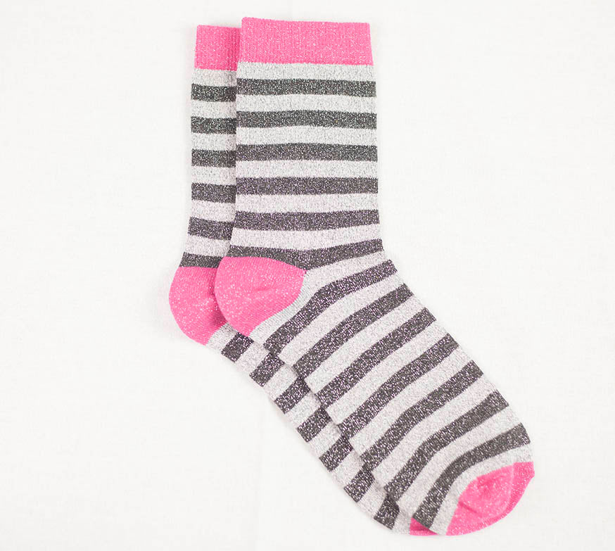 Stripy Stock - Pink/Charcoal