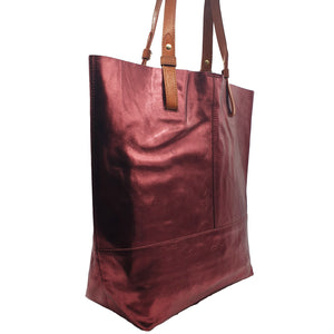 Vega Metallic Leather Shopper - Burgundy