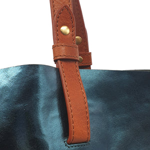 Vega Metallic Leather Shopper - Teal