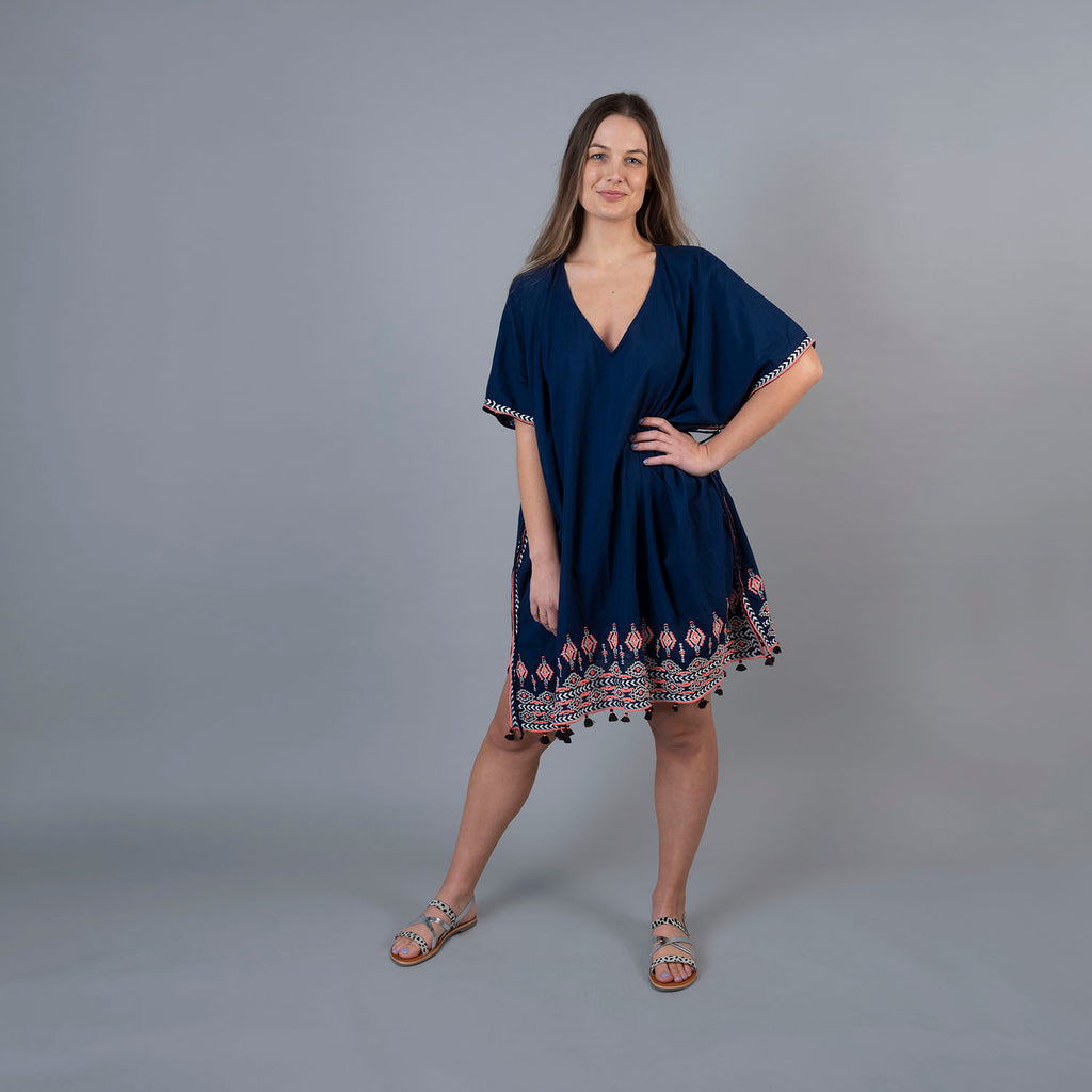 Wrentham Kaftan - Embroidered Navy