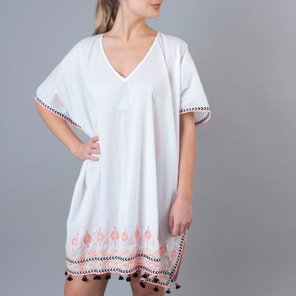 Wrentham Kaftan - Embroidered White