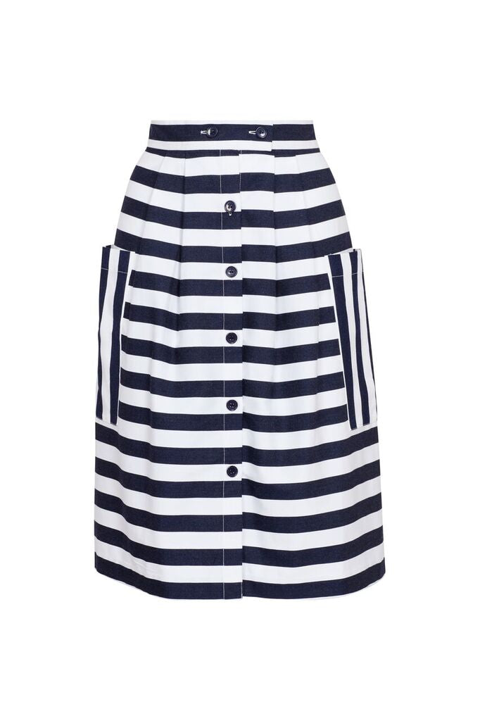 Zoe Skirt - Beach Stripe Blue