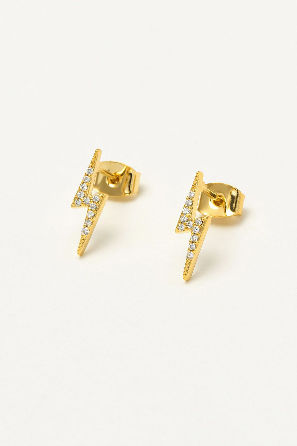 Lightning Bolt Gold Plated Earrings